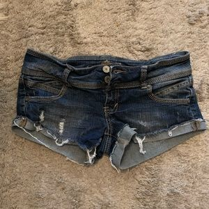 Almost famous ripped jean shorts